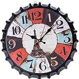 Xinjieda Botella 34cm Cerveza Soda Cap Reloj de Pared de Metal de Estilo Europeo Inicio Restaurante Bar Cafetería decoración del Reloj
