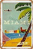 Retro Miami Cartel de Chapa Pared Hierro Retro Pintura Placa Chapa Vintage Arte Creatividad Decoración Artesanías para Cafe Bar Garaje Hogar