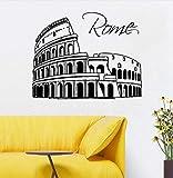 Hwhz 57 X 45 Cm Ciudad De Roma Calcomanía De Pared Removable Skyline Silueta Italia Etiqueta De La Pared Decoración Del Hogar Arte De La Pared De Vinilo Diseño Moderno Ciudad Murales