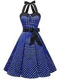 Dressystar Vestidos Corto Cuello Halter Estampado Flores y Lunares Vintage Retro Fiesta 50s 60s Rockabilly Mujer Azul Real XS