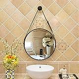 Bloomy Home- Cinturón de Cuero Europeo de Hierro Forjado Redondo Baño Espejo de Maquillaje Espejo Decorativo Espejo Colgante Espejo Redondo Retro Espejos de Pared