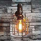 Lámpara de pared de tubo de agua, SUN RUN Cajón de alambre de metal Industrial Vintage pared luminaria con estilo retro para la barra, cocina, sala de estar y dormitorio, lámpara de socket E26