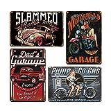 QUMENEY 4 carteles de metal vintage para pared, diseño retro de coche y niña, para decoración de pared, para café, bar, pub, cerveza (30 x 20 cm)