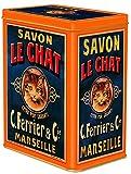 Francia Vintage Caja Decorativa Metal 12x8x15cm Pub JABON LE Chat DE Marseille