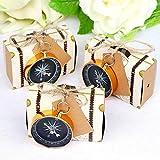 AerWo 50 cajas de dulces para boda con temática de viaje + 50 etiquetas en blanco + 50 piezas de brújula para recuerdo de fiesta.