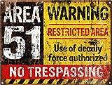 Warning Area 51 Póster De Pared Metal Retro Placa Cartel Cartel De Chapa Vintage Placas Decorativas Poster por Café Bar Garaje Salón Dormitorio